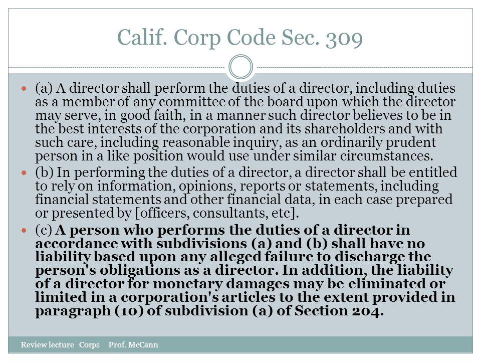 Calif. Corp Code Sec. 309