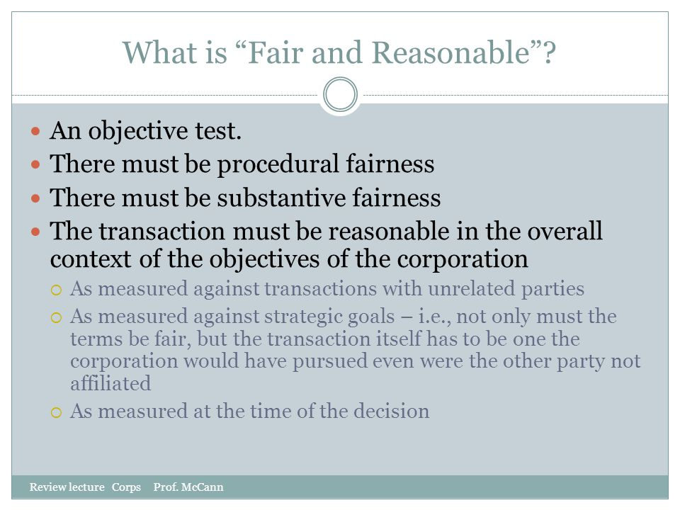 What is Fair and Reasonable
