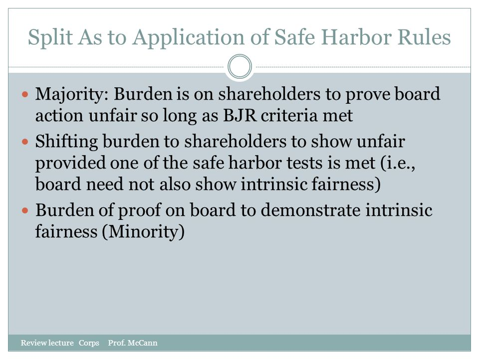 Split As to Application of Safe Harbor Rules