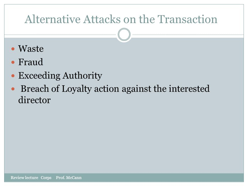 Alternative Attacks on the Transaction