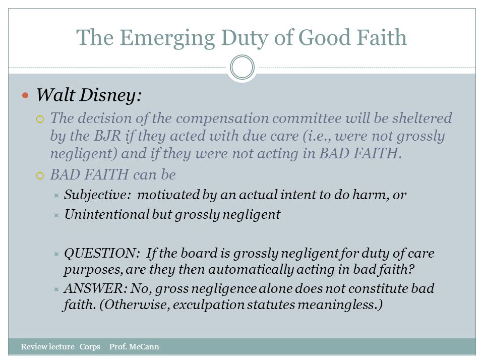 The Emerging Duty of Good Faith