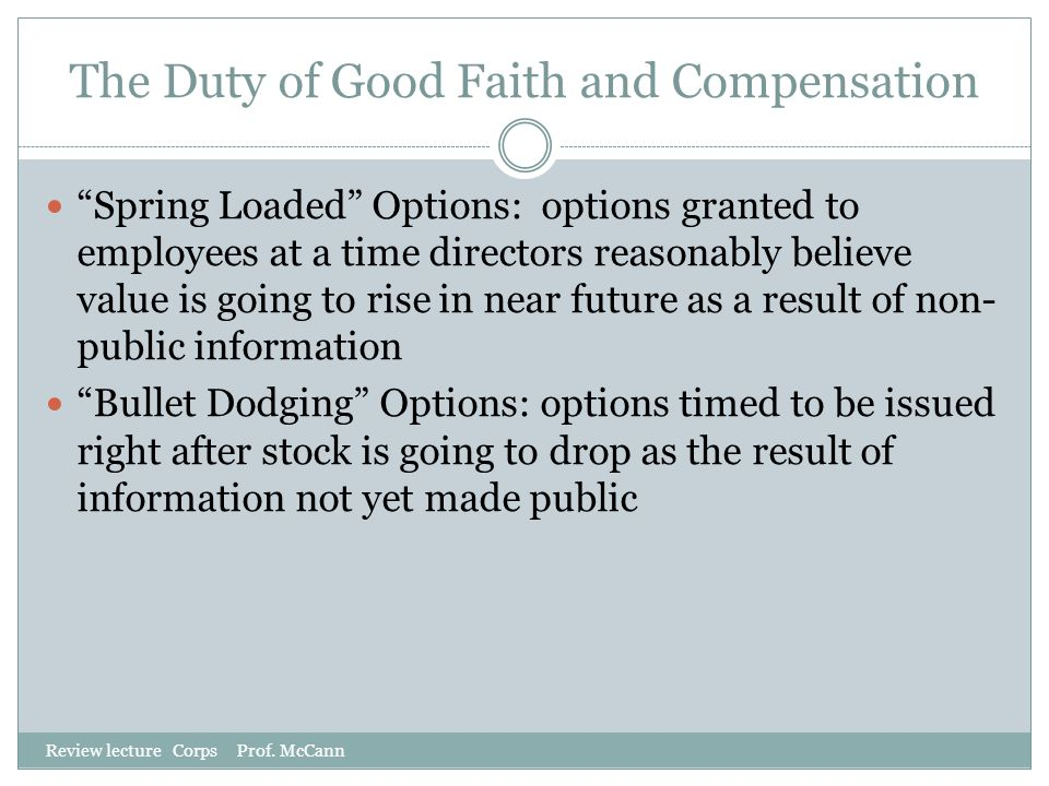 The Duty of Good Faith and Compensation