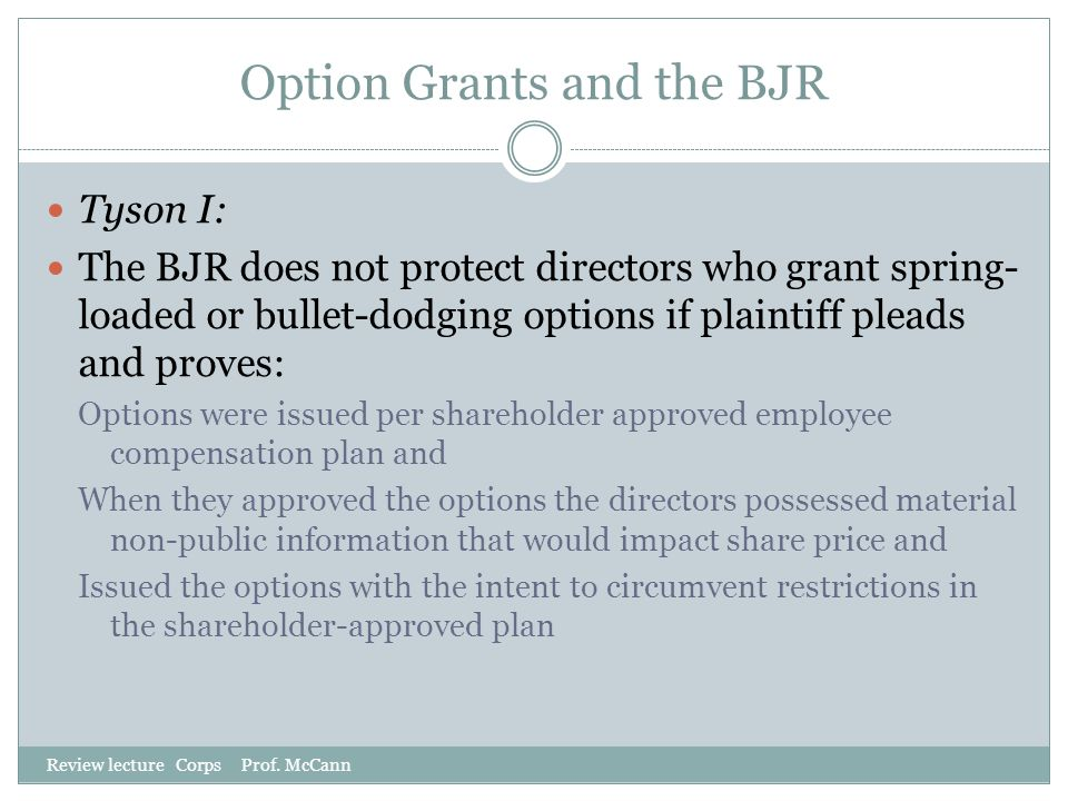 Option Grants and the BJR