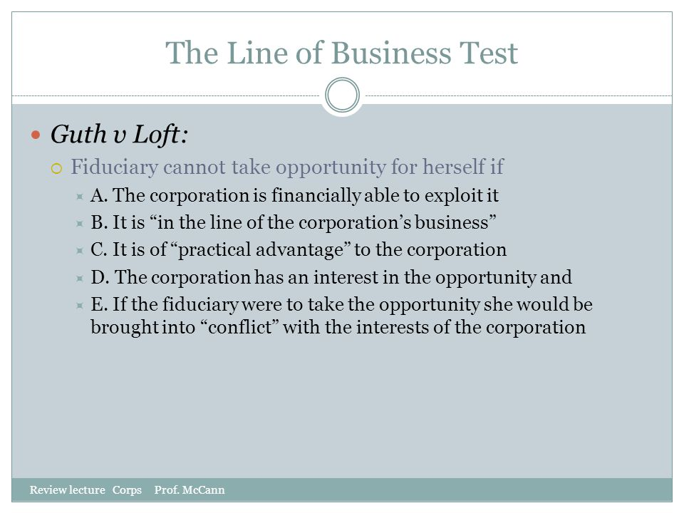 The Line of Business Test