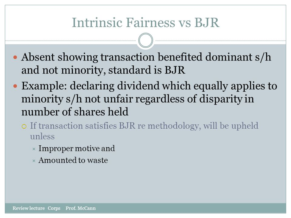 Intrinsic Fairness vs BJR