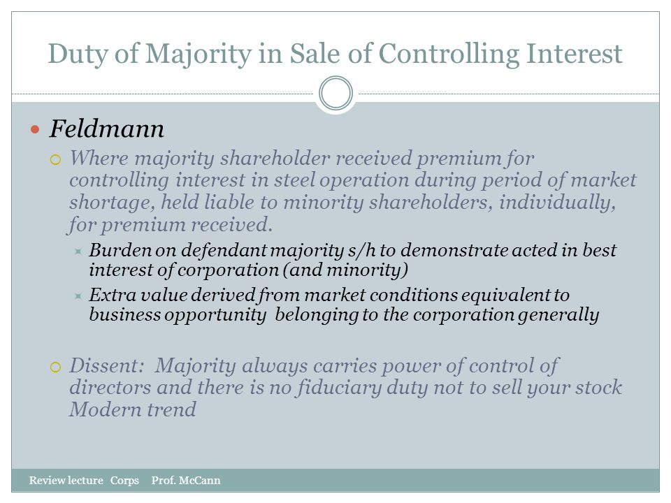 Duty of Majority in Sale of Controlling Interest