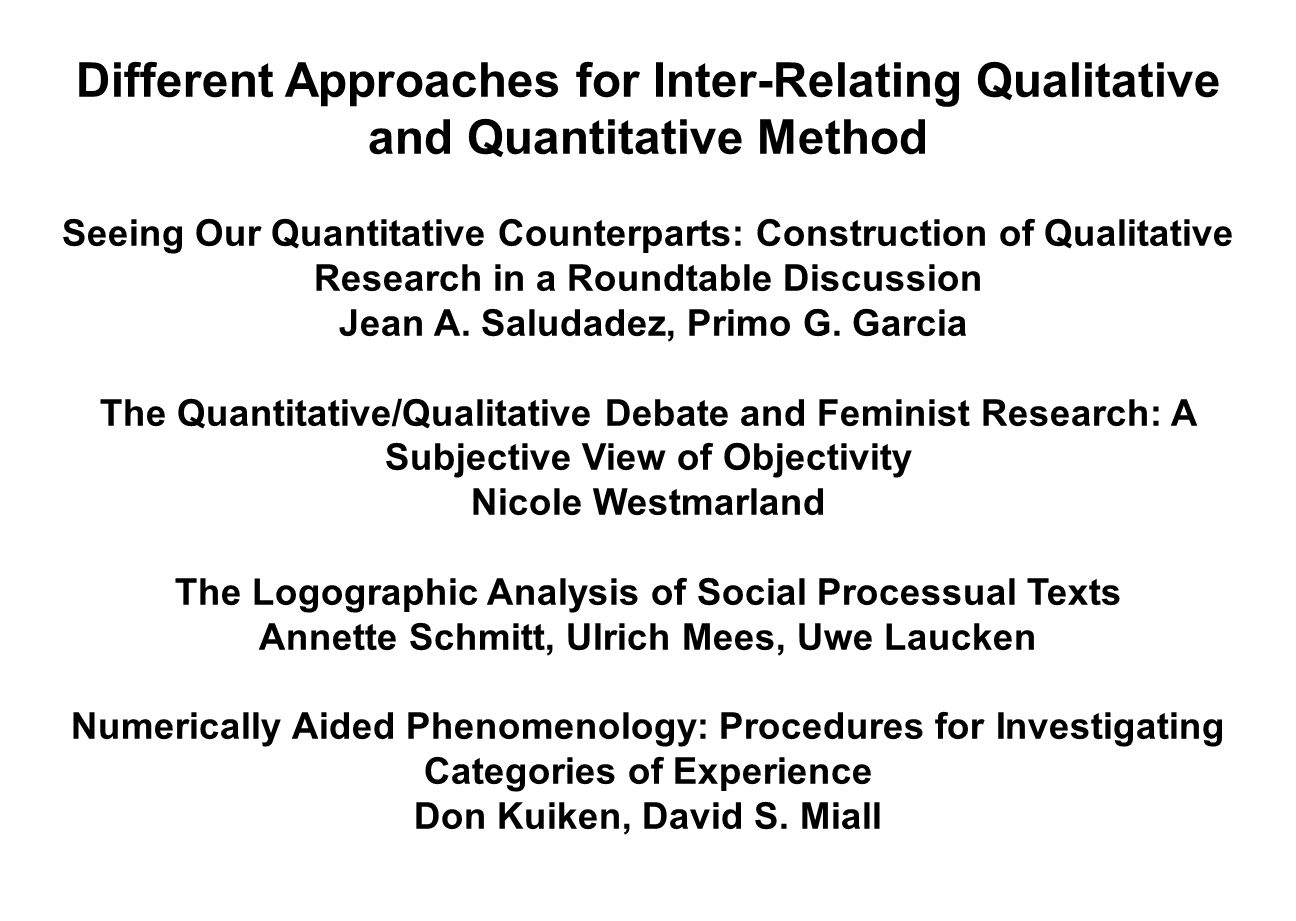 Different Approaches for Inter-Relating Qualitative and Quantitative Method
