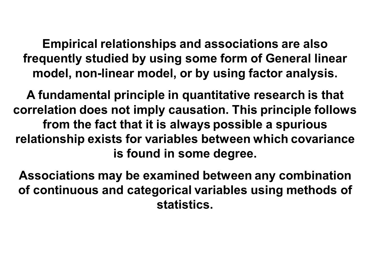 Empirical relationships and associations are also frequently studied by using some form of General linear model, non-linear model, or by using factor analysis.