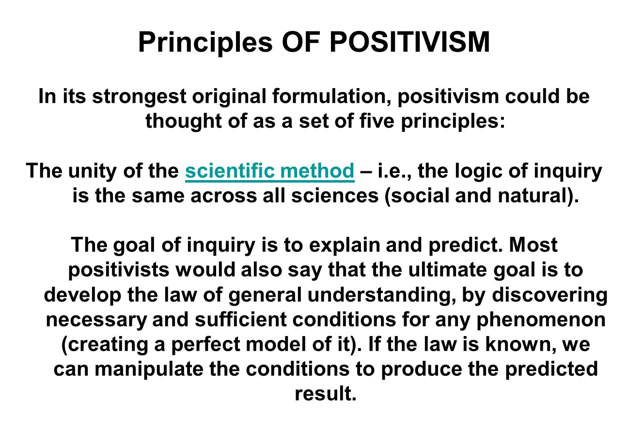Principles OF POSITIVISM