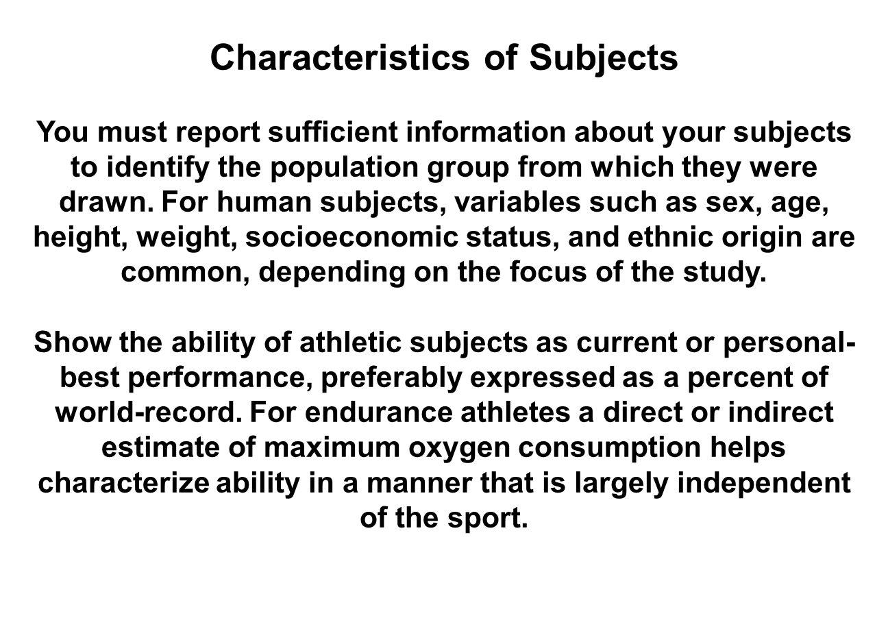 Characteristics of Subjects