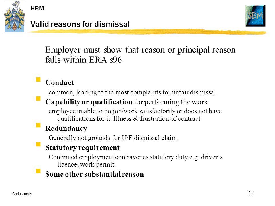 Valid reasons for dismissal