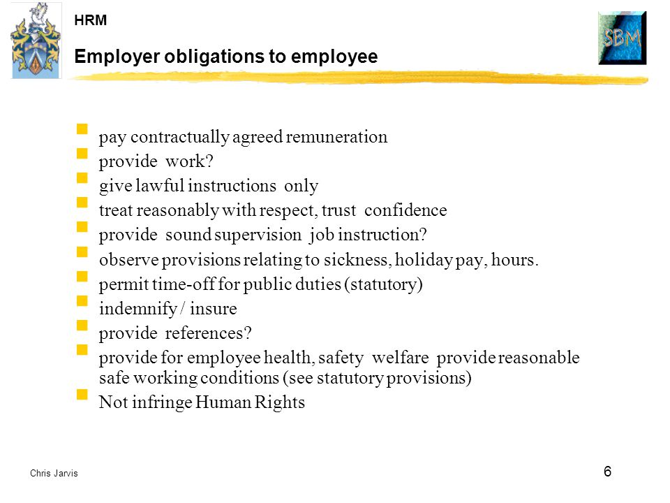 Employer obligations to employee