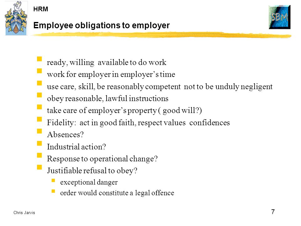Employee obligations to employer