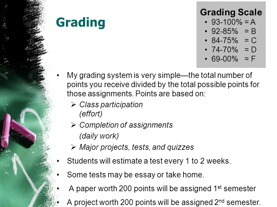 Grading Grading Scale 93-100% = A 92-85% = B 84-75% = C 74-70% = D