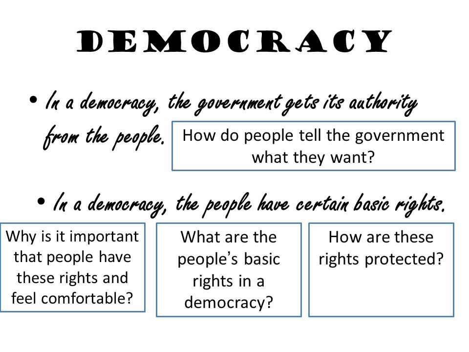 In a democracy, the government gets its authority from the people.