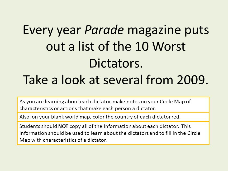 Every year Parade magazine puts out a list of the 10 Worst Dictators