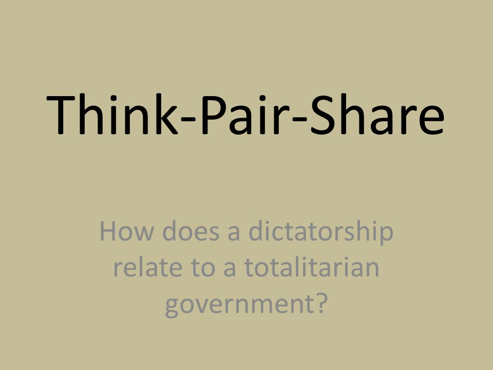 How does a dictatorship relate to a totalitarian government
