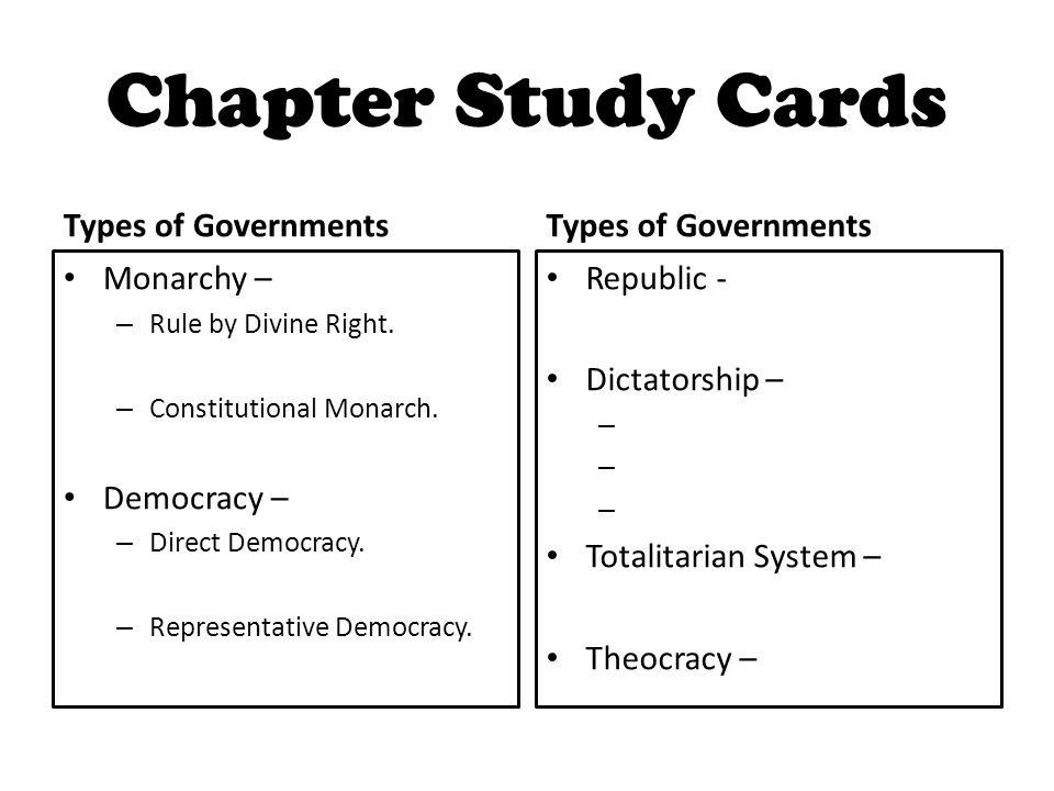 Chapter Study Cards Types of Governments Types of Governments