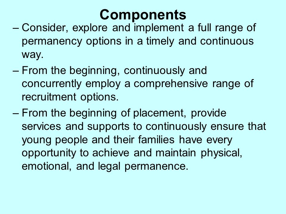 Components Consider, explore and implement a full range of permanency options in a timely and continuous way.