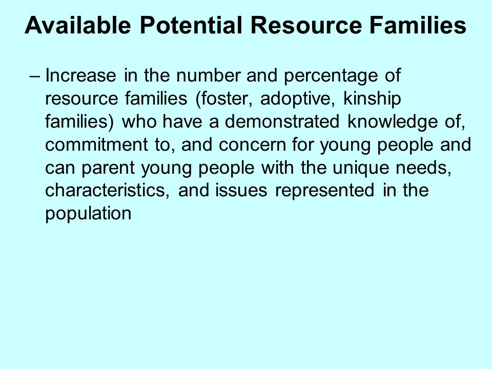 Available Potential Resource Families