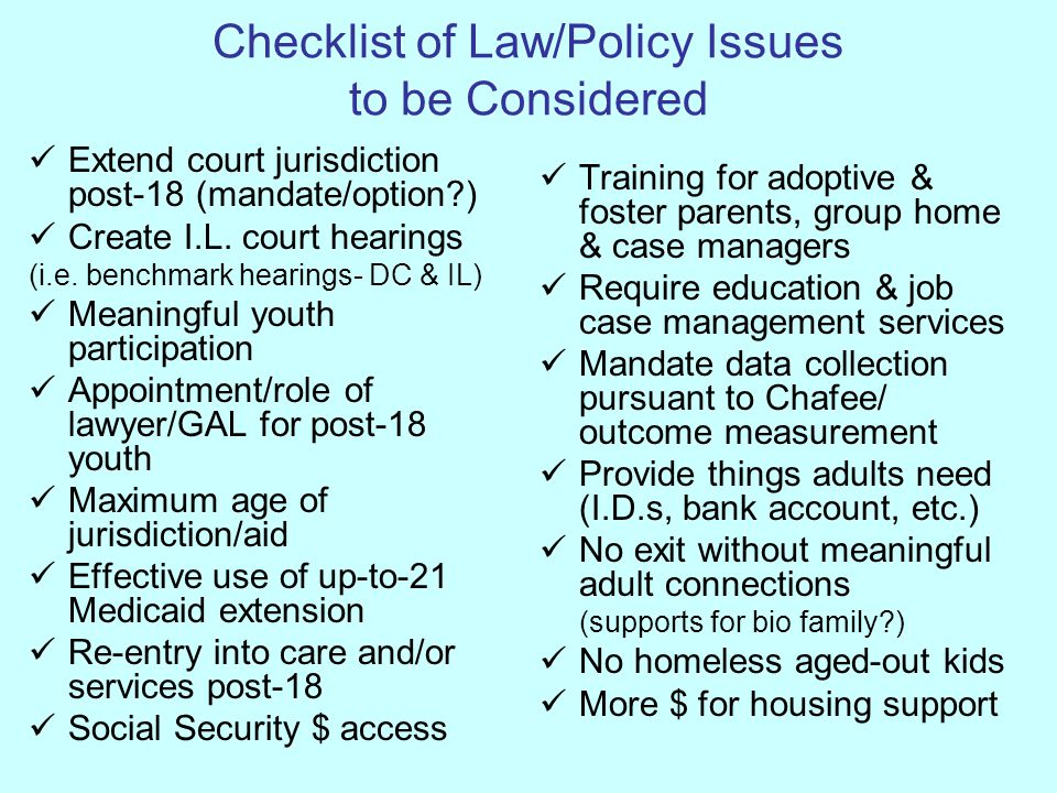 Checklist of Law/Policy Issues to be Considered