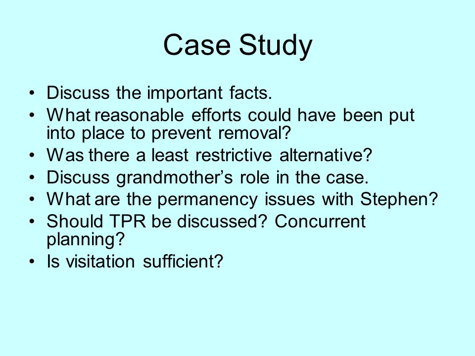 Case Study Discuss the important facts.