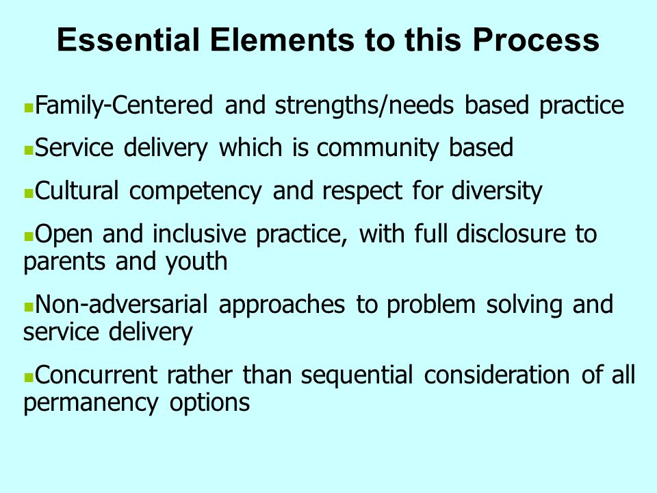 Essential Elements to this Process