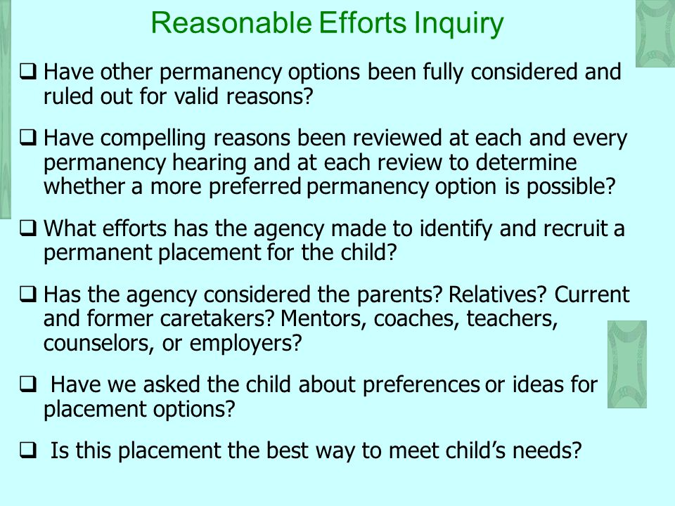 Reasonable Efforts Inquiry