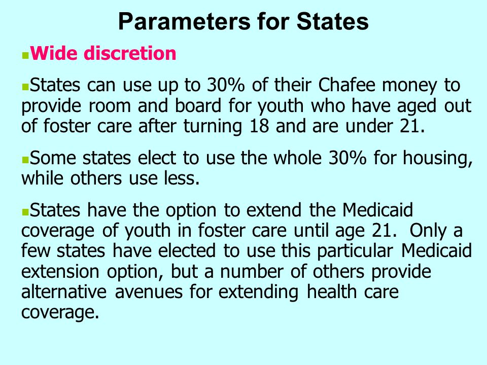 Parameters for States Wide discretion
