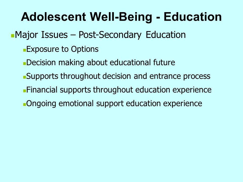 Adolescent Well-Being - Education