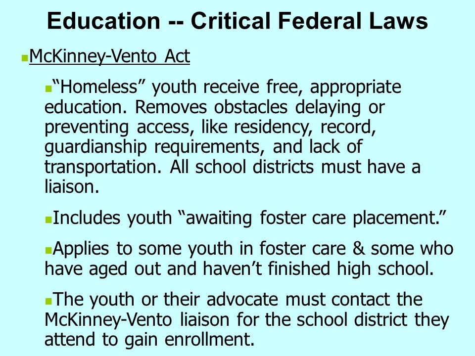Education -- Critical Federal Laws
