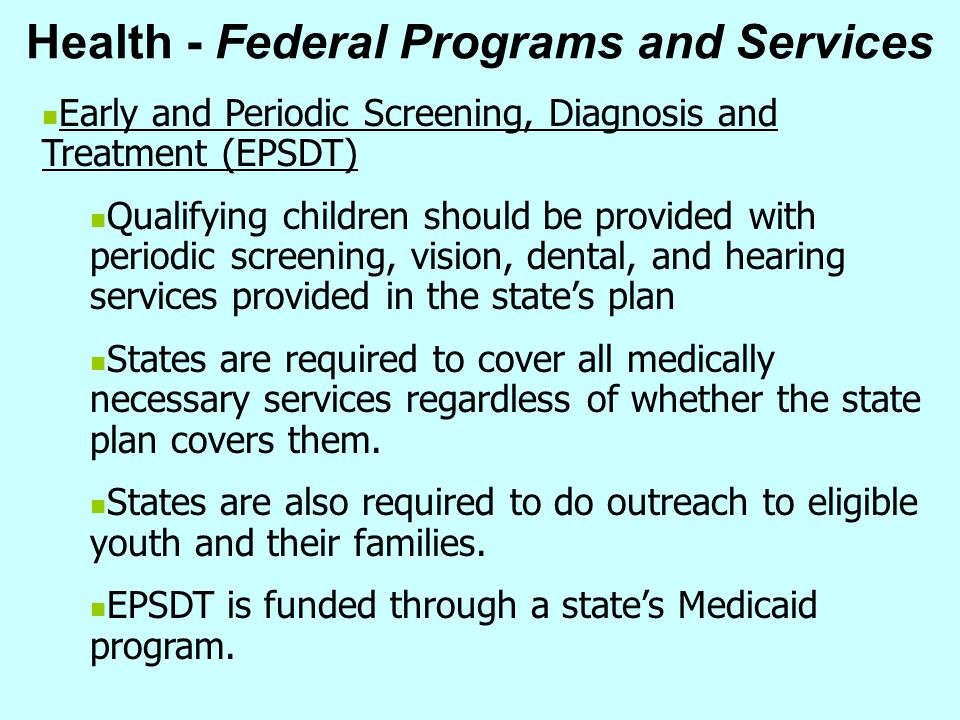 Health - Federal Programs and Services