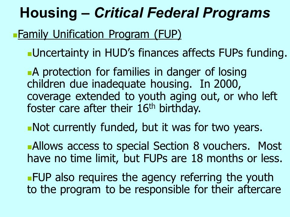 Housing – Critical Federal Programs