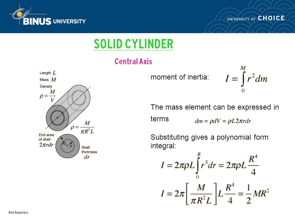 SOLID CYLINDER Central Axis moment of inertia: