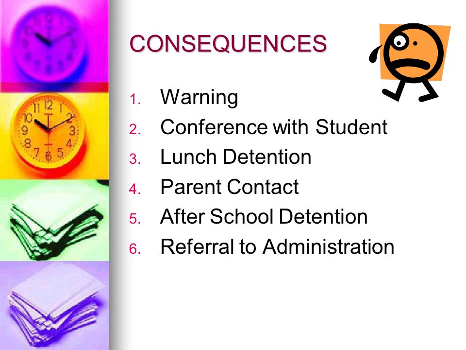 CONSEQUENCES Warning Conference with Student Lunch Detention