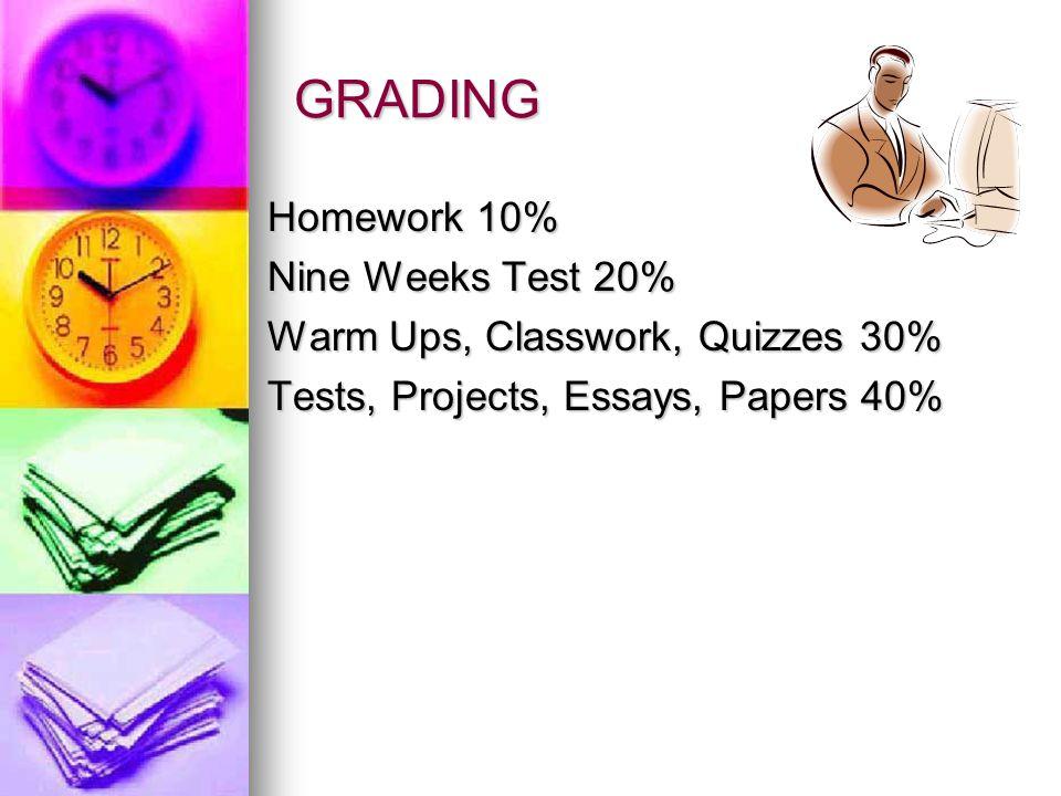 GRADING Homework 10% Nine Weeks Test 20%