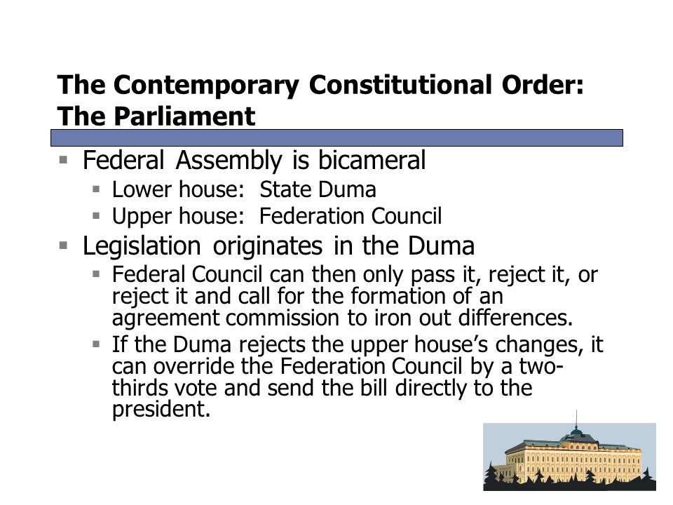 The Contemporary Constitutional Order: The Parliament