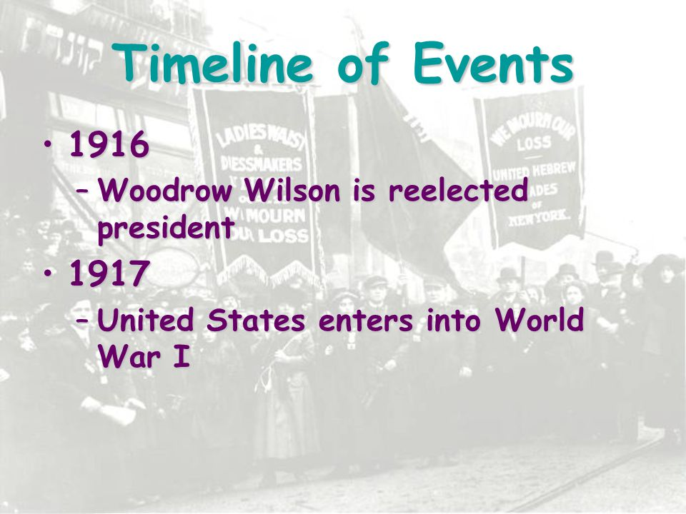Timeline of Events 1916 1917 Woodrow Wilson is reelected president