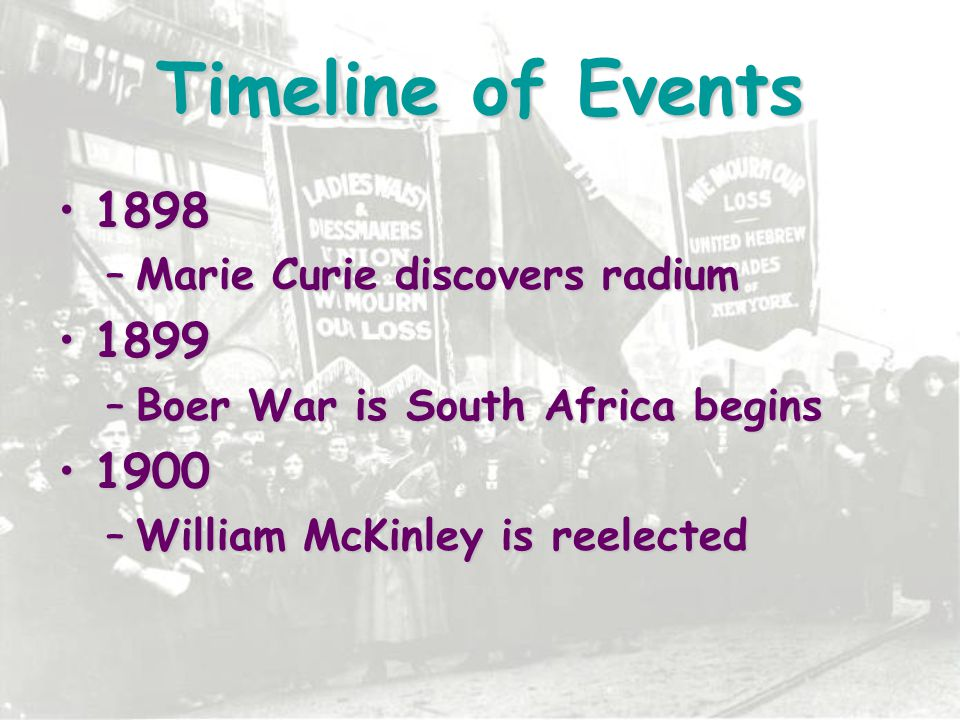 Timeline of Events 1898 1899 1900 Marie Curie discovers radium