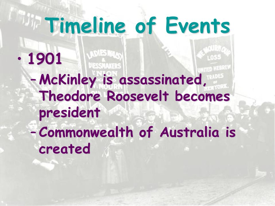 Timeline of Events 1901. McKinley is assassinated, Theodore Roosevelt becomes president.