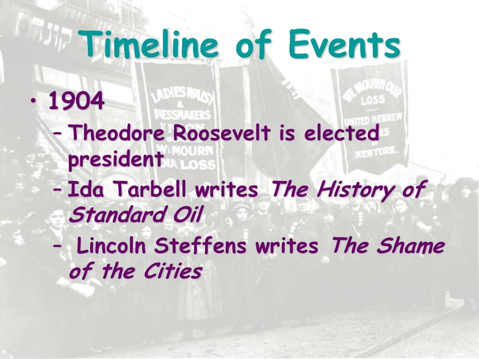Timeline of Events 1904 Theodore Roosevelt is elected president