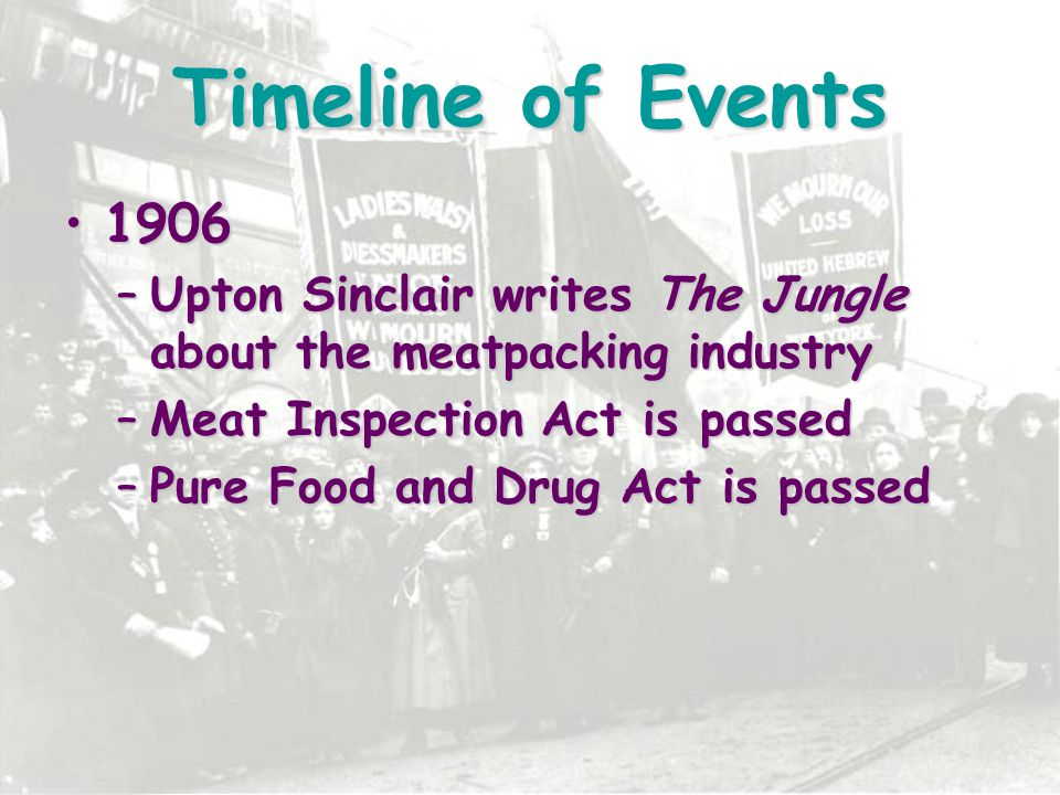 Timeline of Events 1906. Upton Sinclair writes The Jungle about the meatpacking industry. Meat Inspection Act is passed.