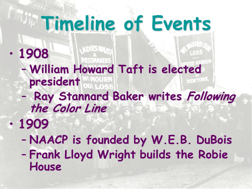 Timeline of Events 1908 1909 William Howard Taft is elected president