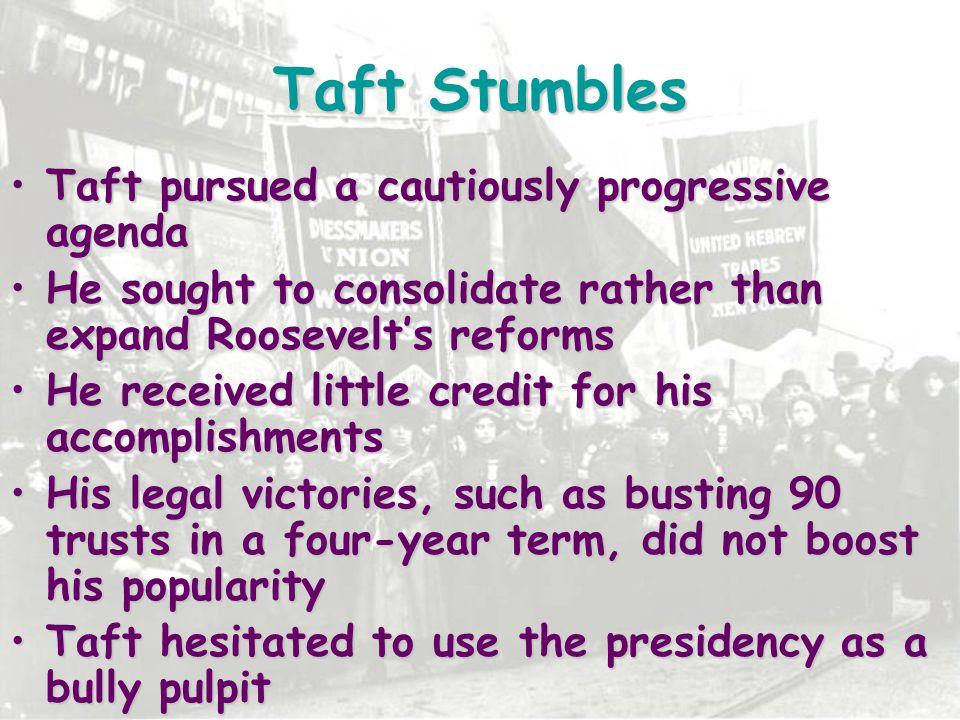 Taft Stumbles Taft pursued a cautiously progressive agenda