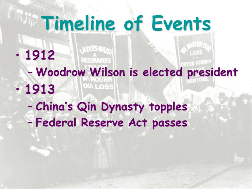 Timeline of Events 1912 1913 Woodrow Wilson is elected president