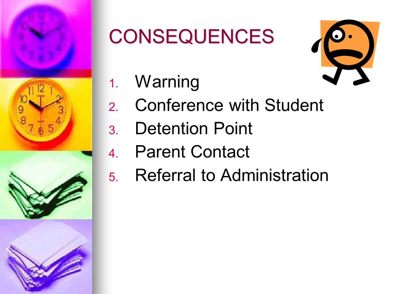 CONSEQUENCES Warning Conference with Student Detention Point