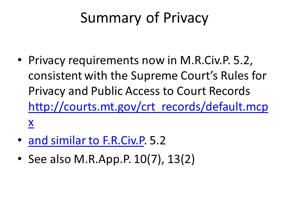 Summary of Privacy