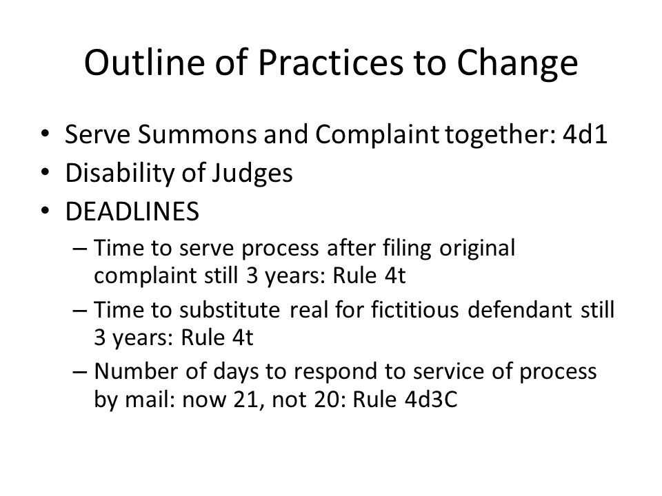 Outline of Practices to Change