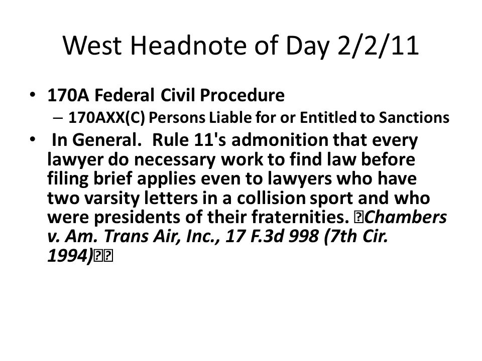 West Headnote of Day 2/2/11 170A Federal Civil Procedure