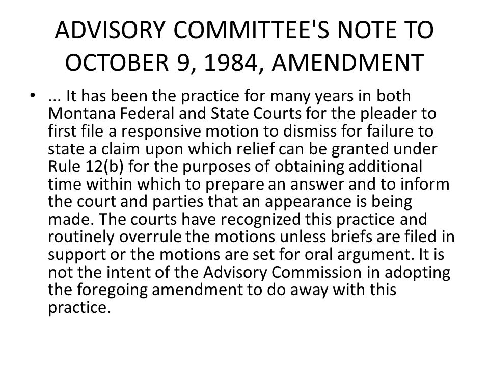 ADVISORY COMMITTEE S NOTE TO OCTOBER 9, 1984, AMENDMENT